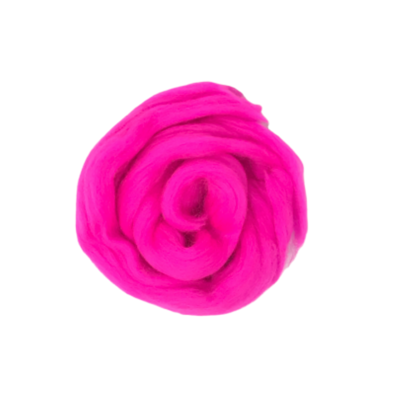 Needle Felting Wool Roving - Hot Pink M010