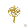Resin Open Back Bezel - Golden Japanese Fan with Sakura