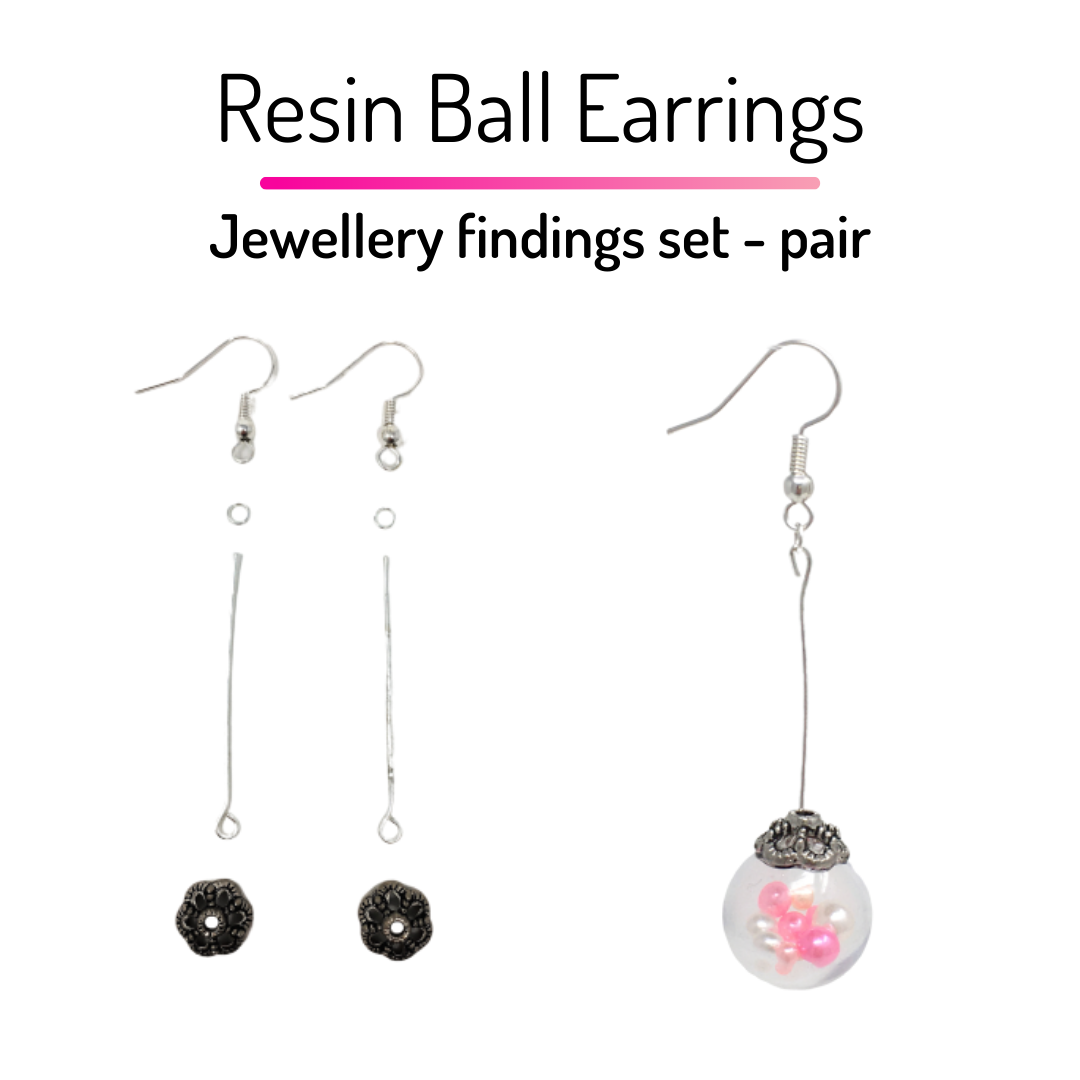 Resin Ball Earrings - Jewellery Findings Set - 1 Pair