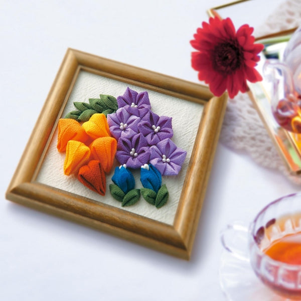 Olympus Tsumami Flower Craft Kit with Wooden Frame - Autumn Bouquet