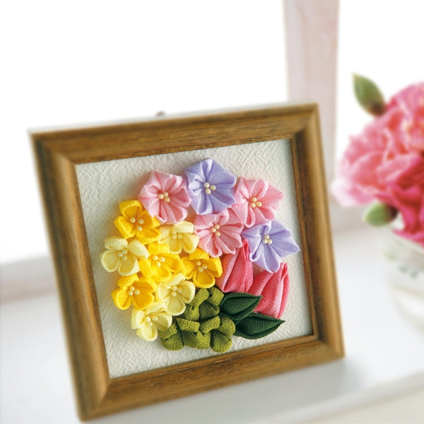 Olympus Tsumami Flower Craft Kit with Wooden Frame - Spring Bouquet