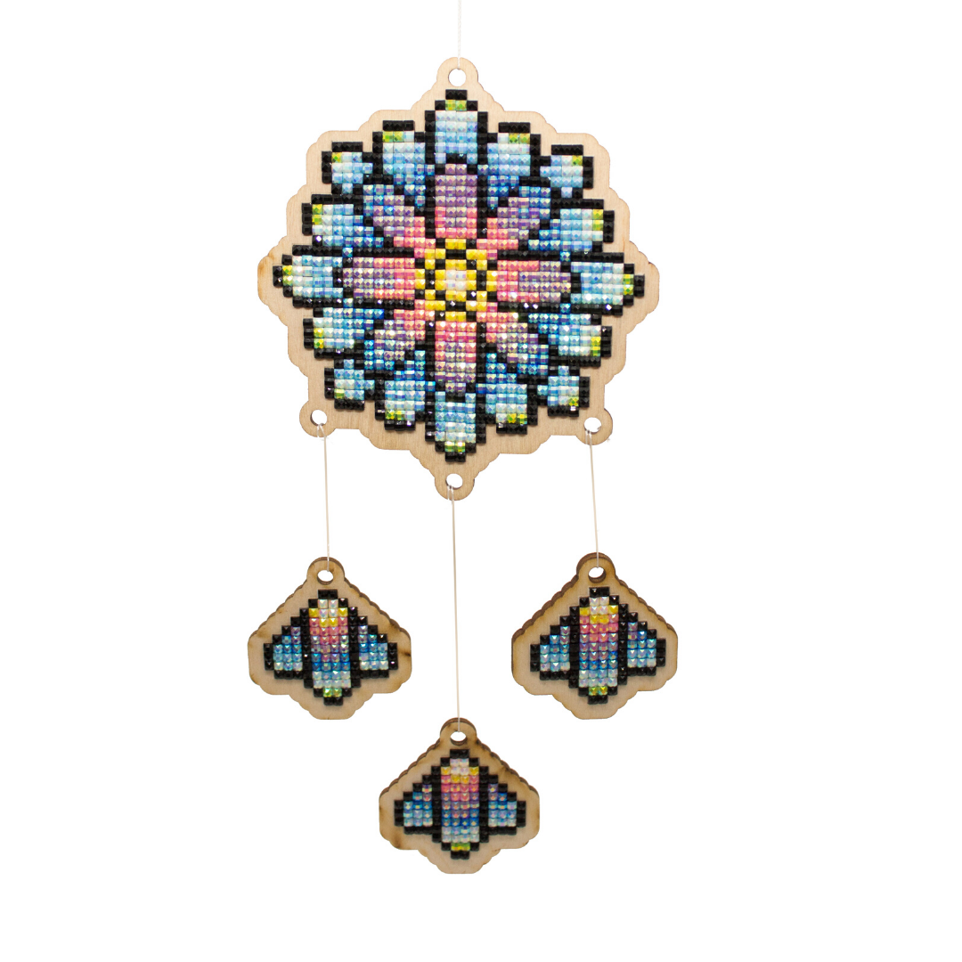 Wizardi Wooden Charms Diamond Painting Kit - Rainbow Dream Catcher