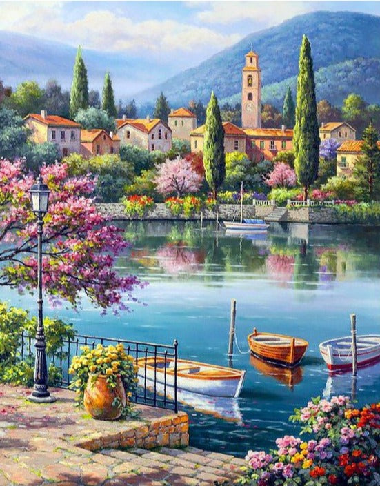 Wizardi Diamond Painting Kit - Village Lake