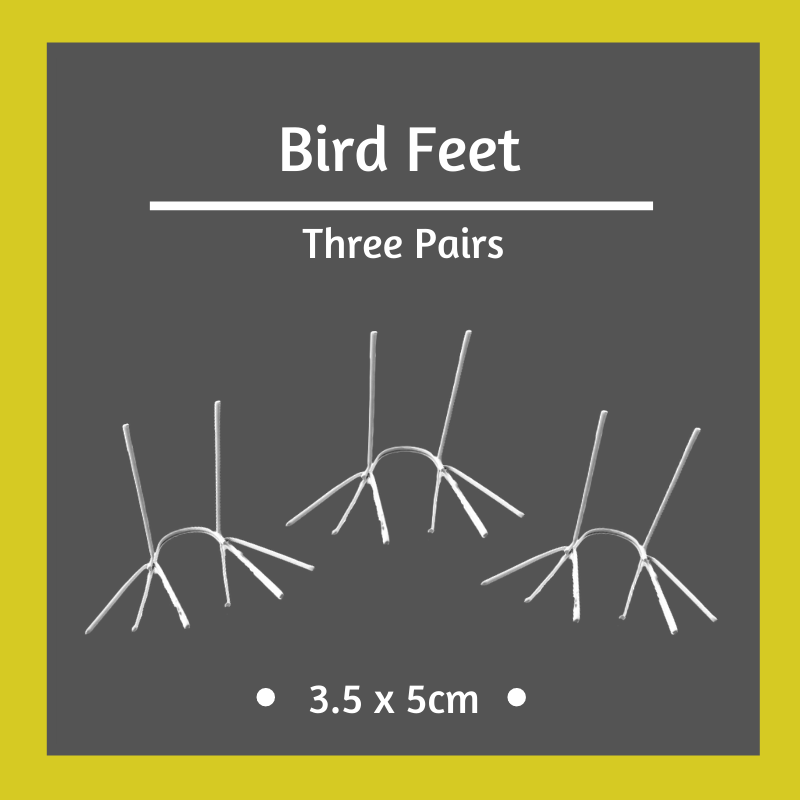 3 x Pairs of Bird Feet - 3.5 x 5cm