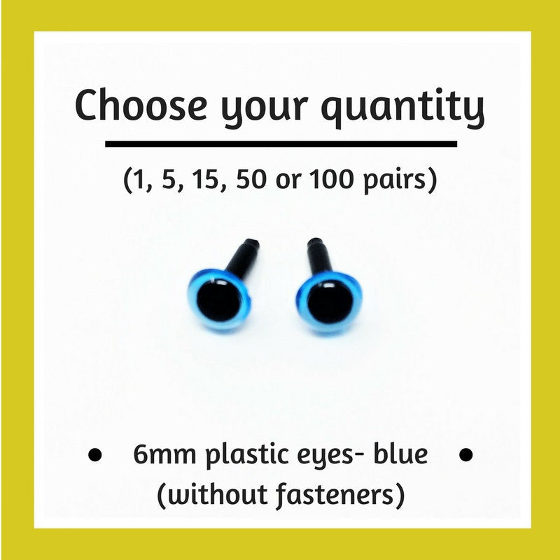 Blue Plastic Craft Eyes - 6mm (Choose Quantity)