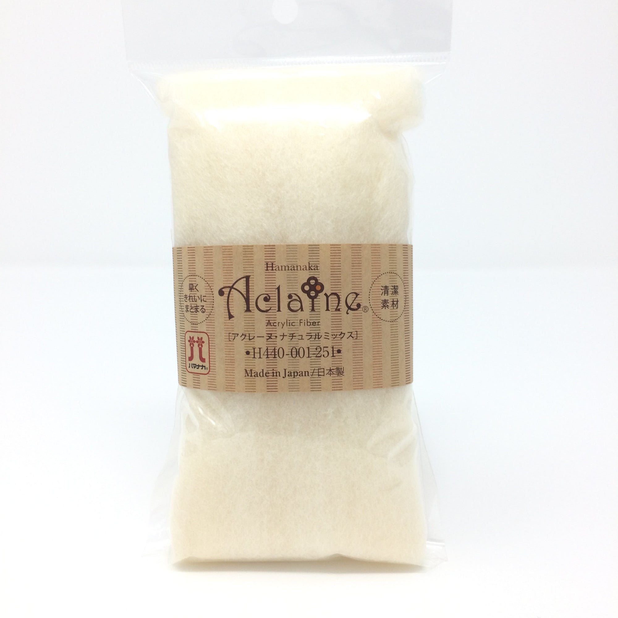 "Japanese Hamanaka Aclaine ""Natural Mix"" Acrylic Fibre for Needle Felting. 15g pack - Natural Cream"