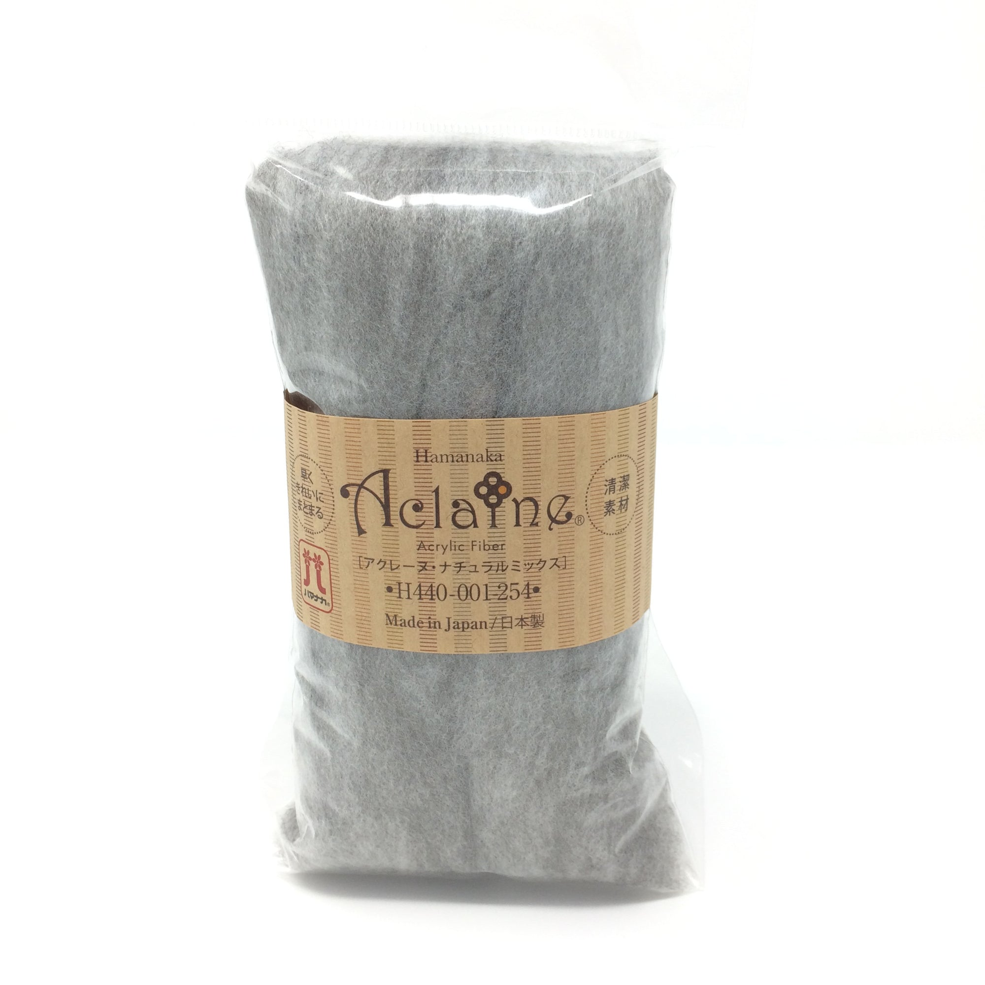 "Japanese Hamanaka Aclaine ""Natural Mix"" Acrylic Fibre for Needle Felting. 15g pack - Natural Grey"