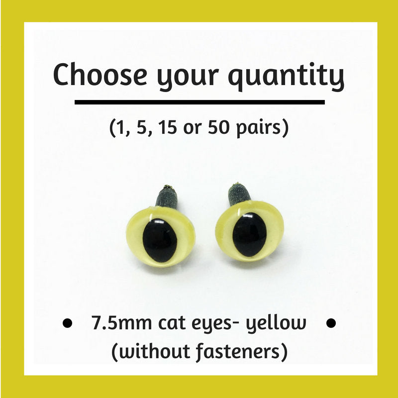 Yellow Plastic Cat Craft Eyes - 7.5mm (Choose quantity)