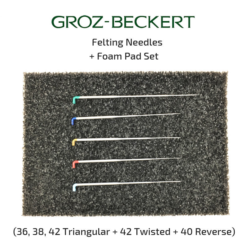 Groz-Beckert Felting Needle Set with Black Felting Foam Pad