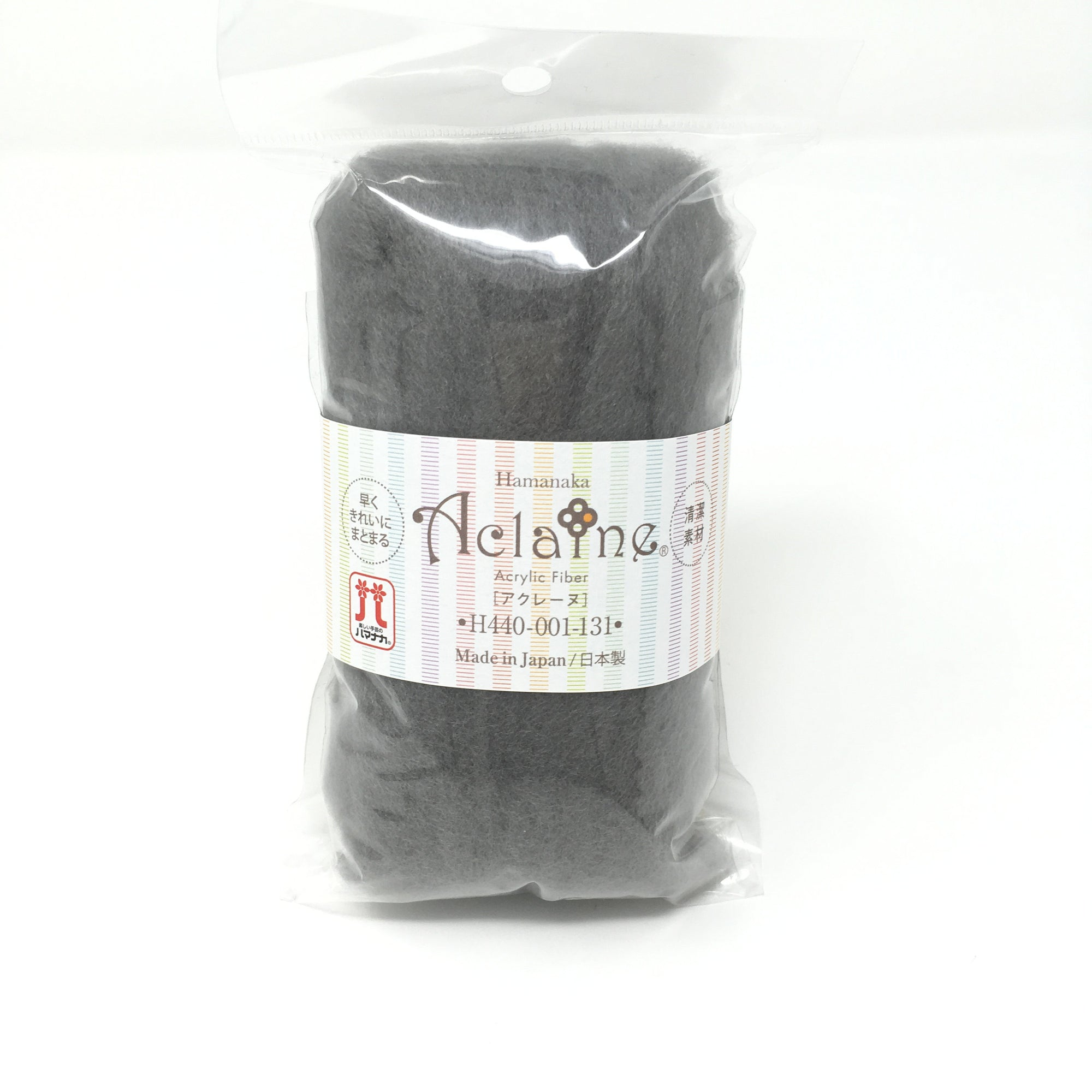 Japanese Hamanaka Aclaine Acyrlic Fibre for Needle Felting. 15g pack- Grey