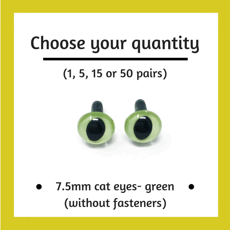 Green Plastic Cat Craft Eyes - 7.5mm (Choose quantity)