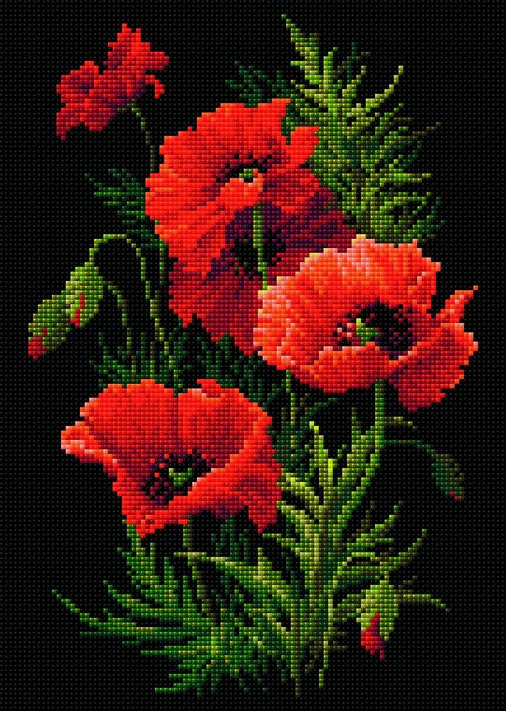 Riolis Diamond Painting Kit - Red Poppies