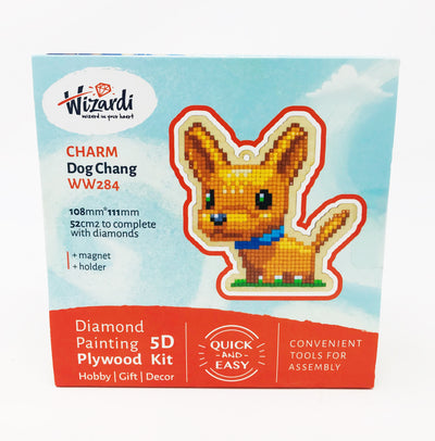 Wizardi Wooden Charms Diamond Painting Kit - Chihuahua Dog