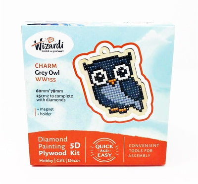 Wizardi Wooden Charms Diamond Painting Kit - Grey Owl