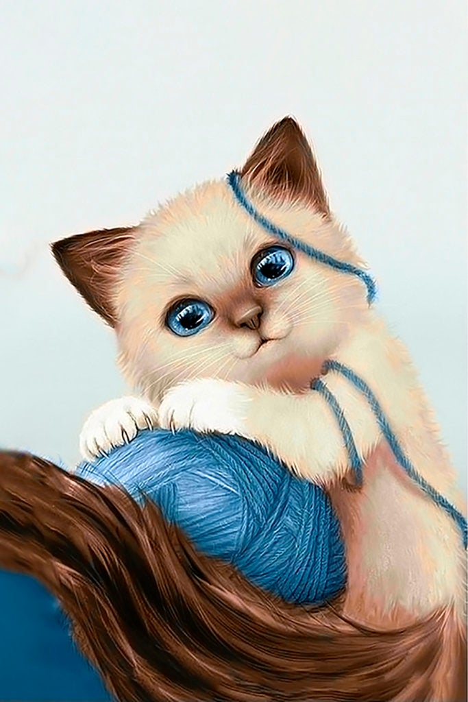 Wizardi Diamond Painting Kit - Kitten with Yarn