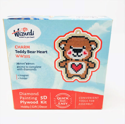 Wizardi Wooden Charms Diamond Painting Kit - Bear with Heart