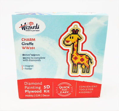 Wizardi Wooden Charms Diamond Painting Kit - Giraffe
