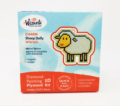 Wizardi Wooden Charms Diamond Painting Kit - Sheep