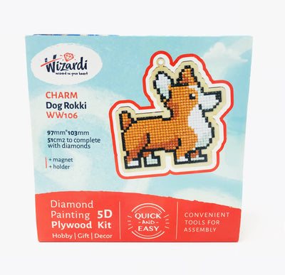 Wizardi Wooden Charms Diamond Painting Kit - Corgi Dog
