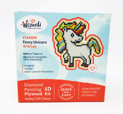 Wizardi Wooden Charms Diamond Painting Kit - Unicorn
