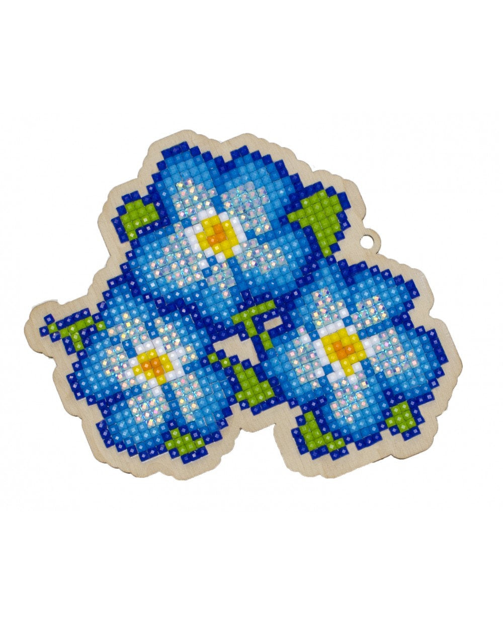 Wizardi Wooden Charms Diamond Painting Kit - Blue Pansies