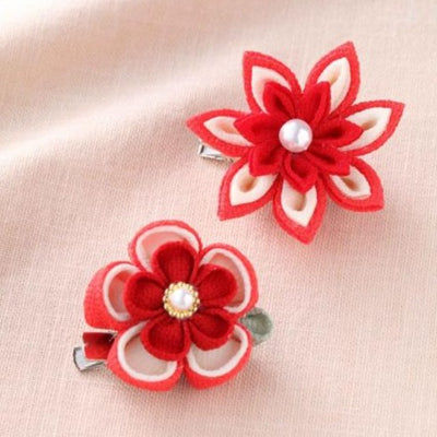 Panami Tsumami Kanzashi Red Flower Hair Clip Craft Kit