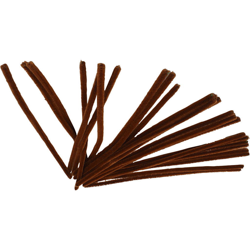 9mm Pipe Cleaners - Pack of 25 - Brown