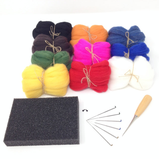 Needle Felting Starter Set - Colourful Selection 100g