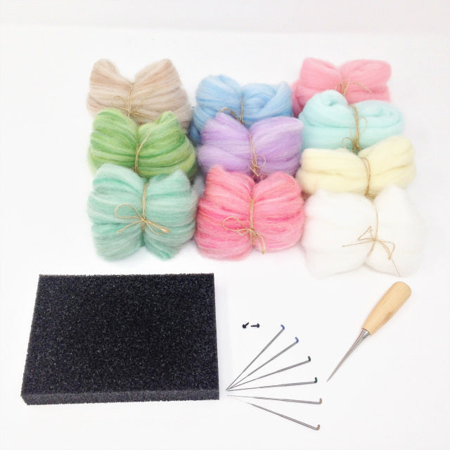 Needle Felting Starter Set - Pastel Colours 100g