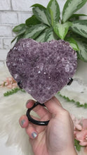 Load image into Gallery: Contempo Crystals - Carved purple amethyst heart crystals on a custom metal display stands. Super sparkly - Image 2