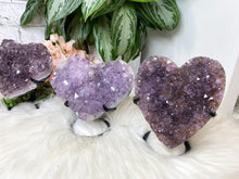 Load image into Gallery: Contempo Crystals - Carved purple amethyst heart crystals on a custom metal display stands. Super sparkly - Image 7