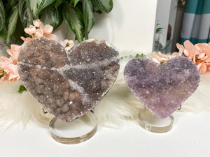 Contempo Crystals - Unique Amethyst Flower crystal hearts.  Great raw crystal cluster cut into the heart shape. Protection, purification, and can also help promote a restful night of sleep. - Image 1