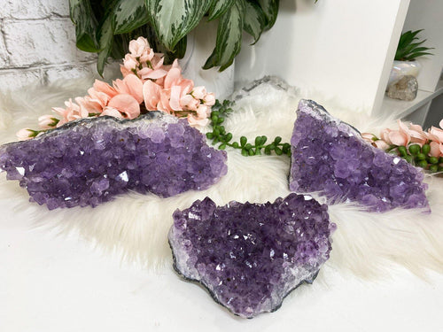 Adorable chunky Amethyst crystal clusters with a beautiful lavender color. These pieces have tons of chunky sparkles all over them.