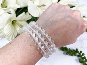 Contempo Crystals - Clear Quartz Stretch Mala Bracelet from Contempo Crystals - Image 1
