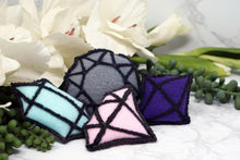 Load image into Gallery: Contempo Crystals - Crystal Cat Toys. Pink diamond, purple octohedron, blue point and gray gem with rattle cores. - Image 1