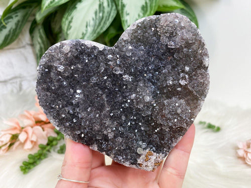 Black amethyst heart crystal that lays flat or you could put it in a stand. Super sparkly piece