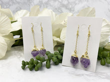 Load image into Gallery: Contempo Crystals - Amethyst Gold Plated Dangle Earrings - Image 2