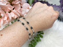 Load image into Gallery: Contempo Crystals - Black Sunstone Sterling Silver Bracelet - Image 1