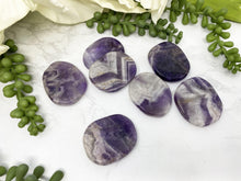 Load image into Gallery: Contempo Crystals - Small White and Purple Chevron Amethyst Worry Stones - Image 3