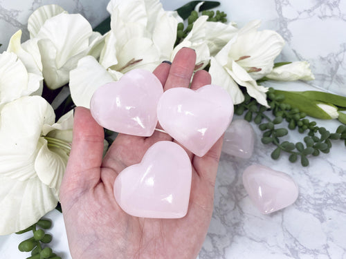 Pink UV Reactive Mangano Calcite Crystal Hearts