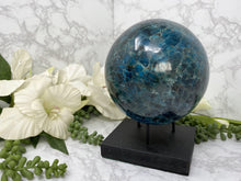 Load image into Gallery: Contempo Crystals - Large Blue Apatite Sphere - Image 7