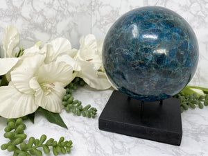 Contempo Crystals - Large Blue Apatite Carved Crystal Ball from Contempo Crystals Online Crystal Shop - Image 3