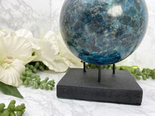 Load image into Gallery: Contempo Crystals - Blue Apatite Sphere with Free Stand  - Image 4