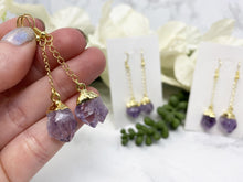 Load image into Gallery: Contempo Crystals - Amethyst Gold Plated Dangle Earrings - Image 5