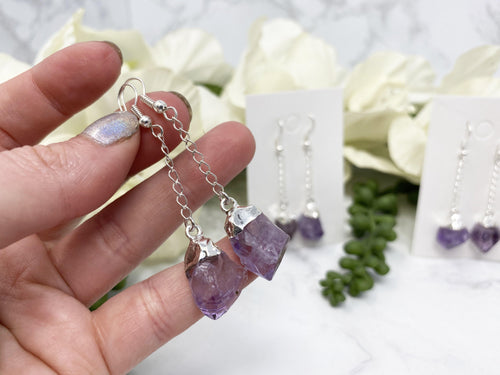 Amethyst Silver Plated Dangle Earrings