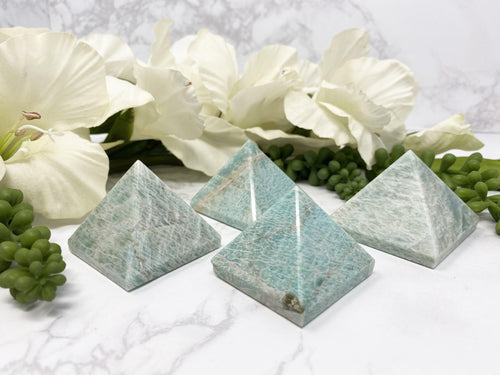 Adorable small amazonite pyramids with soft color of of blue/green! Helps reduce stress, healing after traumas, and helps to soothe.