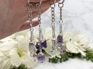 Contempo Crystals - Silver plated clear quartz and amethyst crystal point keychains. - Image 6