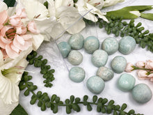 Load image into Gallery: Contempo Crystals - umbles Amazonite is a stone full of calming and protective energy! Common properties--STIMULATING EXPRESSION MEMORY EMOTIONS RELEASING INTUITION LOVE GRIEF CALMING - Image 4
