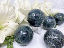 "Load image into Gallery: Contempo Crystals - Green and Blue 2"" Kambaba Jasper Crystal Sphere - Image 1"