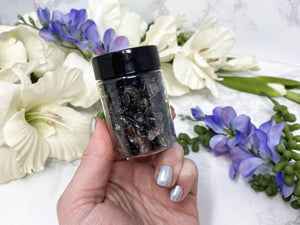 Contempo Crystals - Small Smoky Quartz Crystal Chips Jar for spreading around home for protection. - Image 2